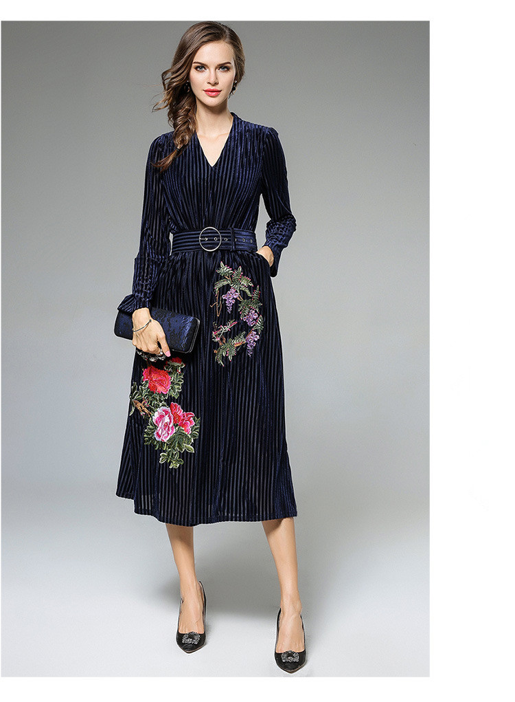 Heavy Embroidery Women Dress High-End Fashion Celebrity-Inspired Dresses Long Sleeve Autumn Robe Belted Vintage Style Vestidos (7)