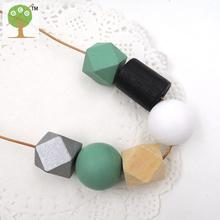 Simple jewelry light wooden women necklace with teal black silver white painted geometric wood beads minimalist NW184