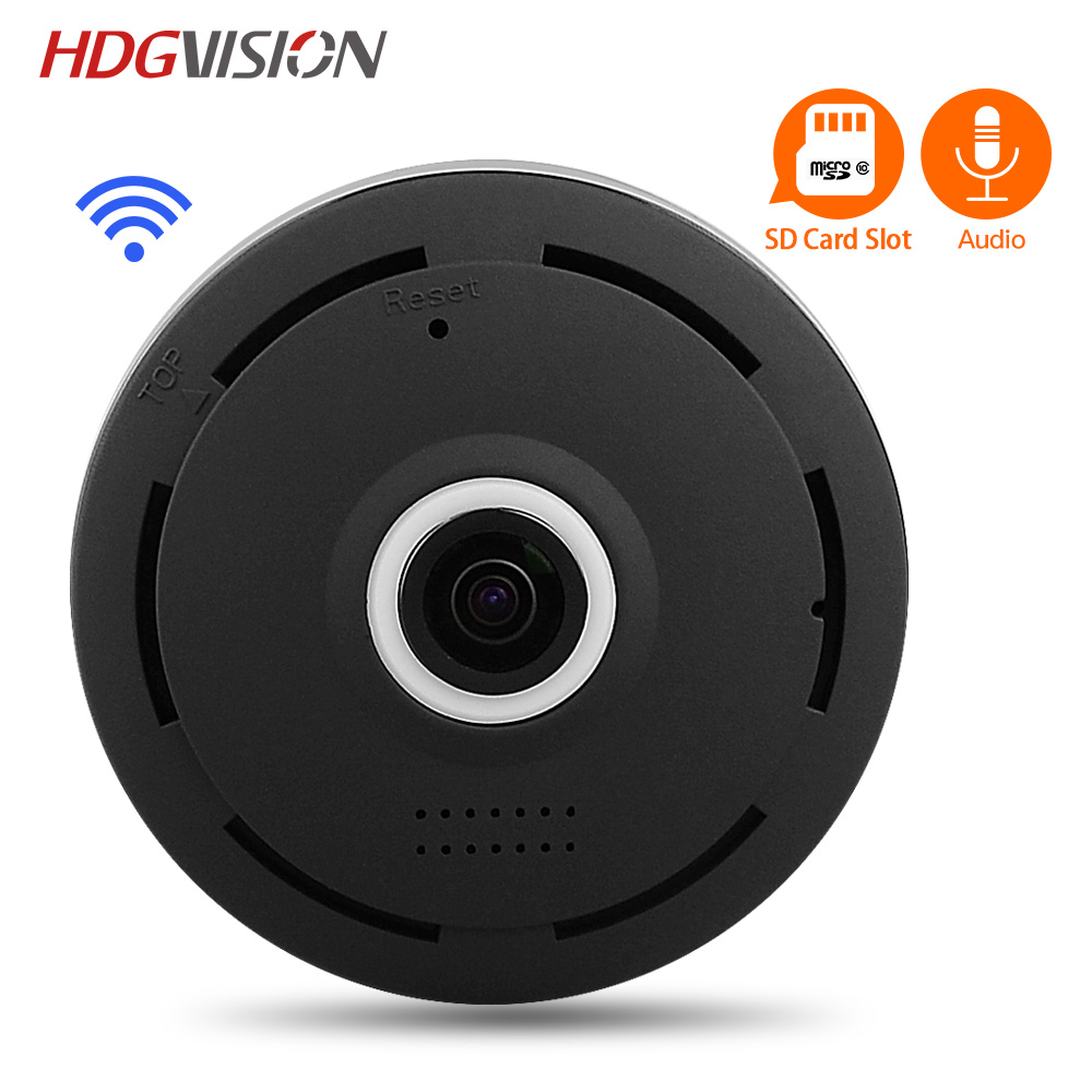 HDGVISION 1.3MP HD FishEye IP camera 360 degree Full View Mini CCTV Camera IR-cut Network Home Security Panoramic WiFi Camera<br>
