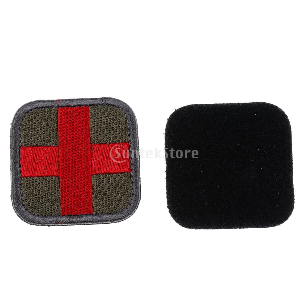 50 x 50mm Hook & Loop Embroidered Tactical Red Cross Medic Patch for Bag Backpack First Aid Kit Pouch