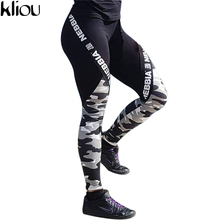 Kliou 2017 Summer High Waist Letter Printed Sexy Leggings Women Fitness Clothing Push Up Legging Gothic Workout camouflage Pants