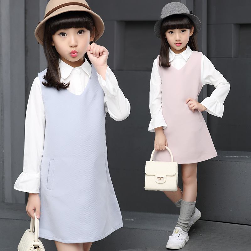 Girls dress suit kids two pieces sets 2017 new children autumn girl blouse dress suit 6-10-13 age girls clothes baby girl child<br><br>Aliexpress