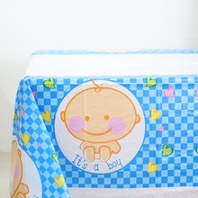 1pcs\lot Baby Shower Plastic Tablecloth Kids Boy Girl Favors Tablecover Happy Birthday Party Maps Decoration Cartoon Supplies