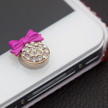 For iPhone 3 4 4s 5 5s 5c SE 6 6s Plus Sticker Home Button Paster Bling Bow Diamond Nice Touch Luxury Lady Fashion Cute