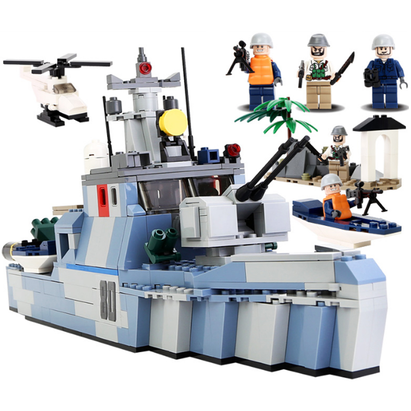 KAZI Military Series Fighter Coastal Guard Ship Action Models Bricks Sets Educational Building Block Toys for Children Gifts<br>