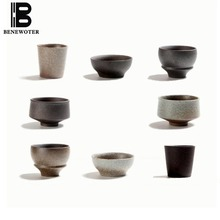 BENEWOTER 70ml Japanese Black Pottery Ceramic Frost Small Water Tea Cup Puer Teacup Hats Cup Master Kung Fu Tea Set Drinkware(China)