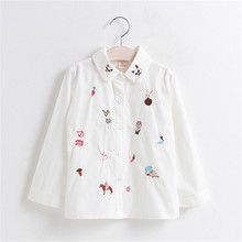 Spring Children Cotton Long Sleeve Baby Girl Cat Embroidered Shirts Child Clothing Turn-down Kids Blouses Girl's Clothes 2-6Y