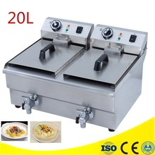 Best Price 20L Commercial Deep Fryer Countertop Stainless Steel Dual Tank Restaurant With Digital Timer And Drain(China)