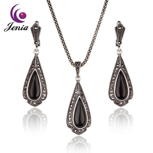 Jenia Design Thai Silver Color Black Stone Water Drop Earrings and Pendant Marcasite Costume Jewelry Sets for Women XS164(China)