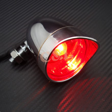 New Motorcycle Chrome Bullet Rear Stop Tail Brake Light For Cafe Racer Bobber Chopper Custom