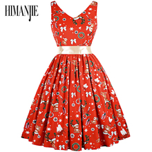 2017 Christmas Dress Front and back deep V-style neck design dress Christmas Pattern Print Slim Waist Dress with Sash(China)