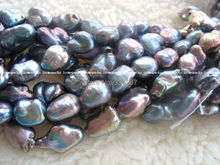 "wholesales  Genuine  Freshwater  Natural pearl black reborn keshi baroque  15"" Necklace  Loose beads"