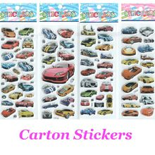 Hamtoys 4pcs/lot Car Cartoon Stickers for Boys and Girls Decorative Cool Famorous Cars Beautiful  Foam Gift Develop Intelligence