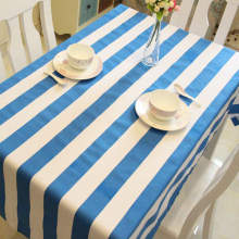 Mediterranean style blue and white striped canvas table cloth cotton table cloth many sizes