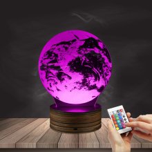 1Piece 3D Optical Illusion Earth Bulbing Lamp Plexiglass Vision 3D LED Lamp Wooden Base With Color Changing Remote Controller(China)