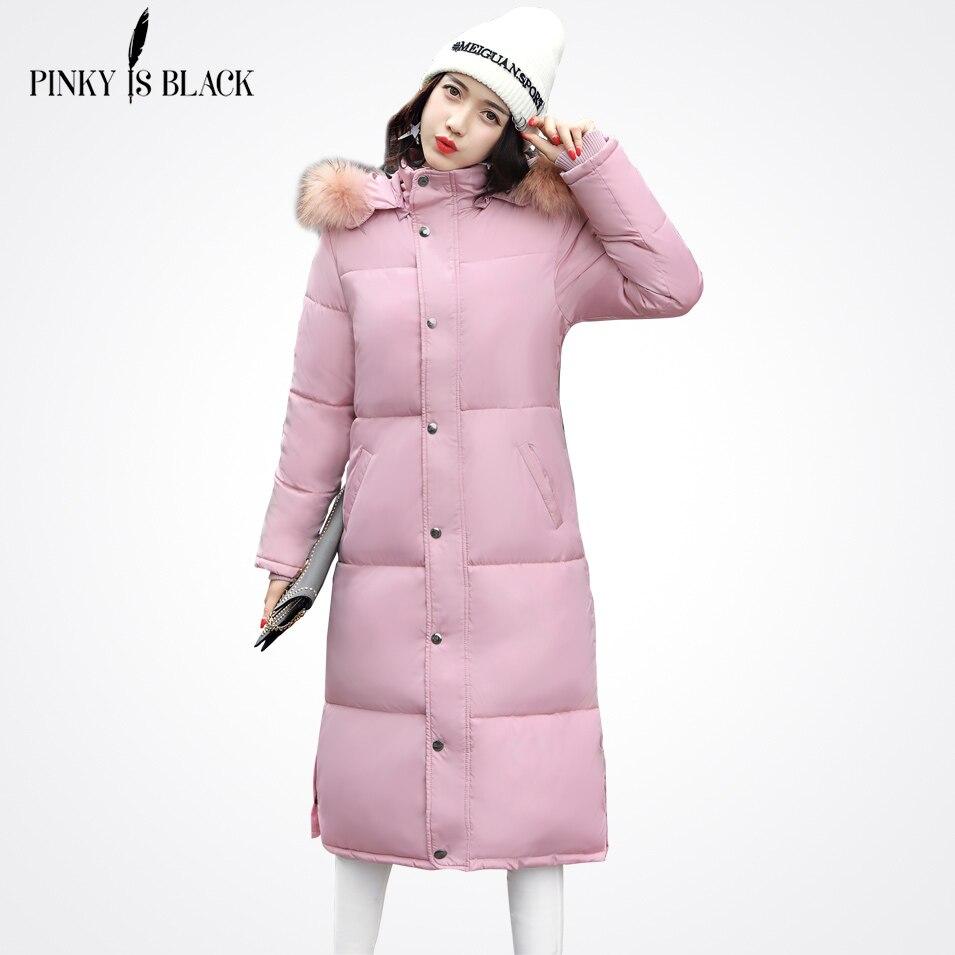 Pinky Is Black 2017 X-Long Winter Jacket Women Large Fur With Hood Thickening Parkas Women Clothing Basic Winter Coat OutwearÎäåæäà è àêñåññóàðû<br><br>