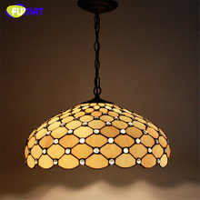 FUMAT Stained Glass Pendant Lamp Big Lampshade Light European Style Suspension Light Restaurant Lamp Hotel Lights Fixtures