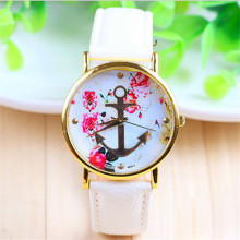 Hot Marketing Women's Fashion Style Leather Band  Floral Printed Anchor Pattern Quartz Dress Wrist Watch Relogio Feminino
