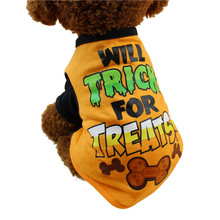 Small Dog vest Cool Halloween Cute Pet T Shirts Clothing Small Puppy Costume Horror letter bones printing Puppy Clothing 2017