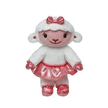 "Doc McStuffins Lambie - Lamb Beanie Babies 7"" Sheep Plush Doll Toy Pink and White Stuffed Animal S64"