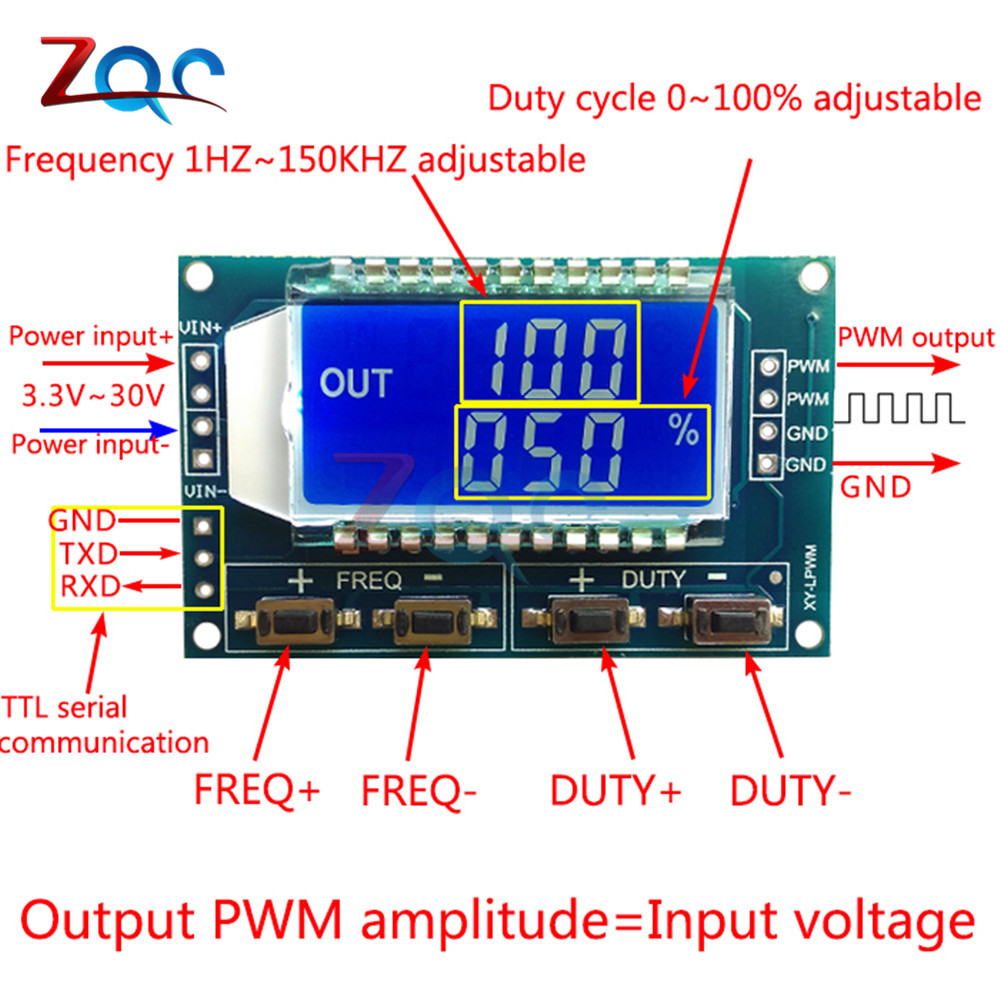 Signal Generator PWM Pulse Frequency Duty Cycle Adjustable Module LCD Display 1Hz-150Khz 3.3V-30V PWM Board Module 3