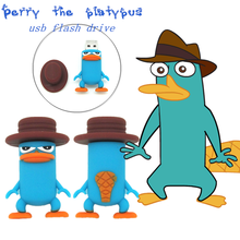 cartoon Perry the platypus series usb flash drive blue pen drive funny flash memory stick U disk 4GB 8GB 16GB 32GB real capacity