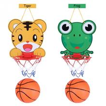 Hanging Basketball Hoop With Ball Toys Adjustable Baby Basketball Toys Cartoon Tiger/Frog Children Kids Indoor Sports Game Gift(China)