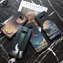 Fashion hard silicon TPU+PC Luminous science fiction sky Stars phone cover case For Sansung Galaxy S7 S8 S8 Plus moon Mountains(China)