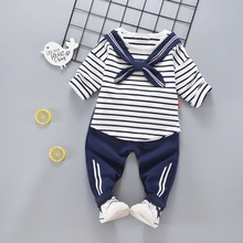 Autumn 2017 Children Long Sleeved+Long Pant Cotton Suit Brand Kid's Clothing Navy Style for 1-4Years(China)