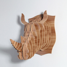 1 set Wooden Rhinoceros Head For Wall Hanging 3D Wood Puzzle Wooden DIY Model Wall Hanging Animal Wildlife Head Sculpture WD004(China)