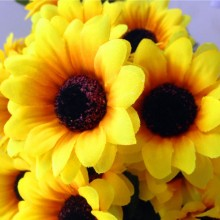 New 7 Heads Sunflowers Artificial Flowers Bouquet For Home Decoration/Wedding Decor Outdoor Garden Artficial Sunflowers