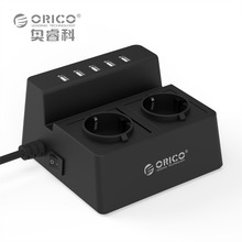 ORICO Charging Stand Surge Protector with 5 USB Ports and 2 AC Outlets Built in 5 Feet Cord Power Strip