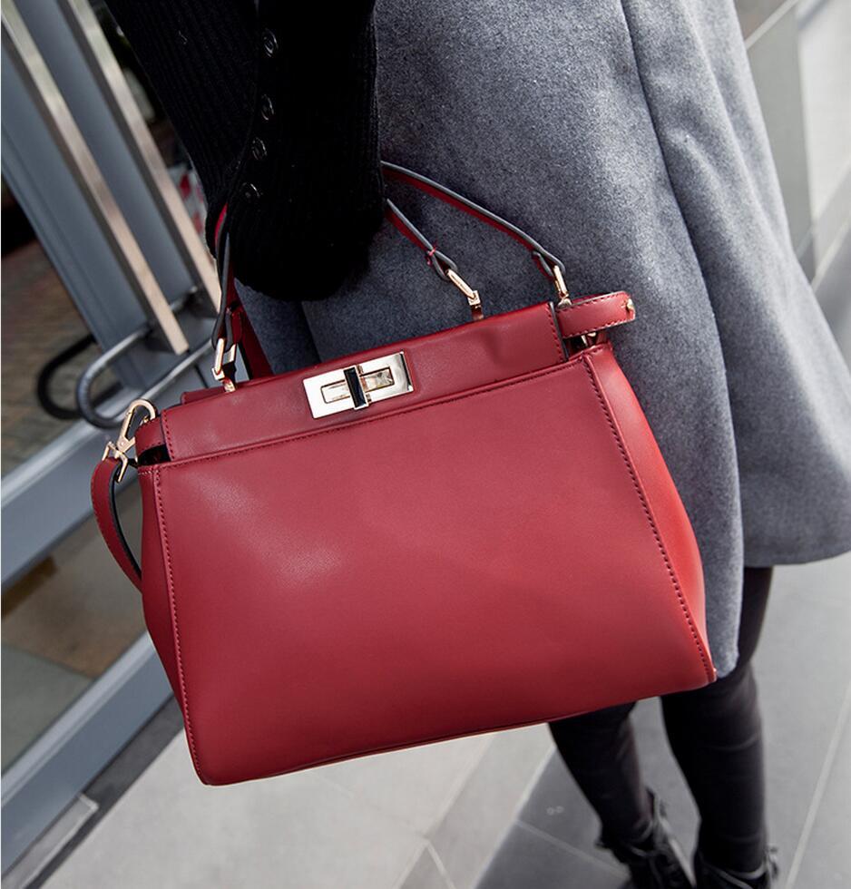 Peekaboo Bag 30cm Tote Bag Vintage Women Luxury Handbags Designer Lock High Quality PU Leather Shoulder Crossbody Messenger Bag<br><br>Aliexpress