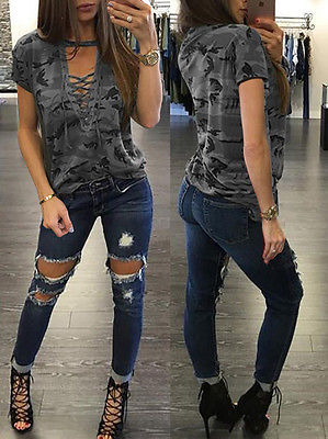 Women's Summer Short Sleeve, Camouflage, Loose Casual, T Shirt Top, Bandage Hollow Out T-Shirt 3