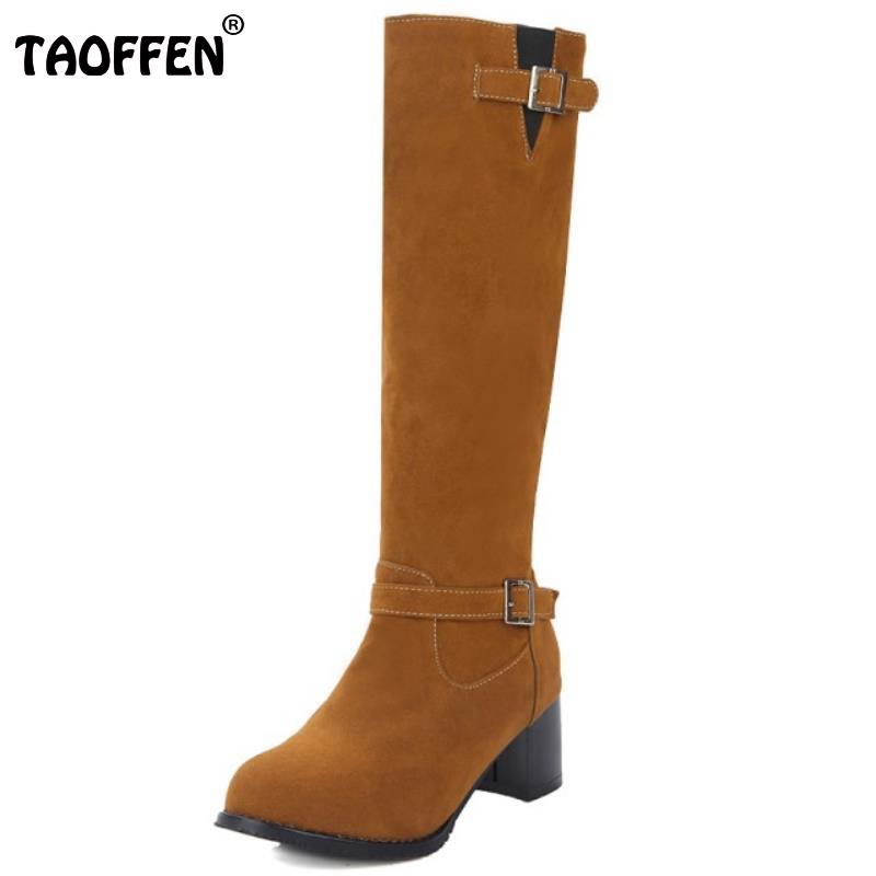 Women Square Heel Knee Boots Female Suede Leather Buckle Style Knight Botas Fashion Brand Heeled Footwear Shoes Woman Size 34-43<br><br>Aliexpress