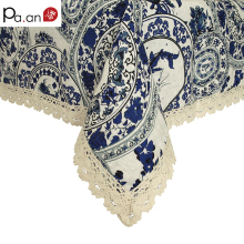 Classic Style Cotton & Linen Rectangular Tablecloth Blue White Pattern Dustproof Lace Table Cloth Home Hotel Table Covers Hot