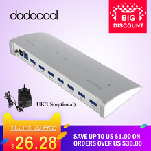 dodocool 7-Port USB Hub with Power Adapter Superspeed 5Gbps USB 3.0 HUB Splitter EU UK Plug for iMac Macbook USB Hub 3.0(China)