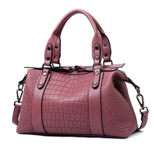 2016 New Fashion Wild Shoulder Corssbody Bags Crocodile European and American Boston Women Bag Double Zipper Purse and Handbags