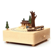 music box Ali Mountain City series of wooden box around a small train creative gift(China)