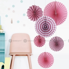 Pink Paper Fan Rosettes Backdrop Paper Pinwheel Garland Party Fans Paper Medallions for Wedding Birthday Shower Everyday Decor