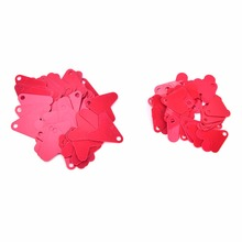 Cheap 50 Pcs 21mm 16mm Blades Red Heart Shape for Harvesting Baits Bass Hooks Fishing Metal spoon Connector Accessories