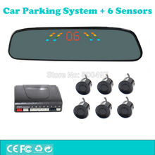 Car Parking Assistance System with 6 Parking Sensors Rearview Mirror LED Display Backup Reverse and Front Radar System Alarm Kit
