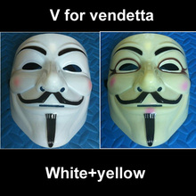 white+yellow colour mixed colour V for Vendetta Mask Halloween mask Guy Fawkes Party Face Mask Costume Mask(China)
