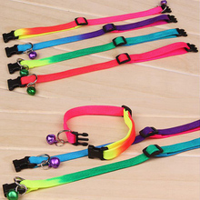 Rainbow Color Pet Dog Cat Collar with Bells 1cm Width Adjustable 24-34cm Length for Small Dogs Holiday Beauty