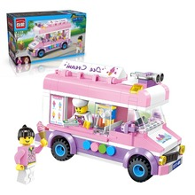 Mini City Series Movable Ice Cream Truck Van Building Block Toys Pink Dream figures Bricks Compatible with Lego Enlighten 1112