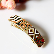 Big Size Leopard Print Style Alloy Enamel Jewelry Hair Clip Spring Comb Barrette