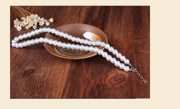Faux Pearl Crystal Choker Necklace Earring Bracelet Jewelry Set (White) (7)