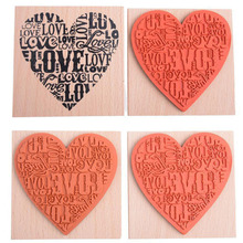 DIY Wood Stamp Fashion Craft School Scrapbooking Decor Heart Shape Blocks Wooden Rubber Craved Printing Stamp