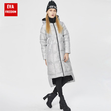 2016 Brand Winter Long Duck Down Jacket Coat New Trend Warm Coat Thick Print Personality Fashion Ladies down jacket EVA FREEDOM