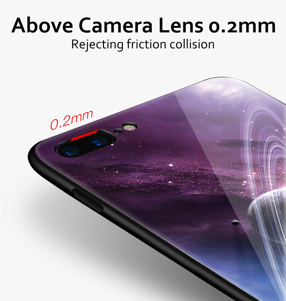 TOMKAS Star Sky Pattern Glass Case For iPhone X 7 8 6 6 s Cover Phone Cases For iPhone 7 8 6 6s Plus X Case Silione TPU PC Coque (9)
